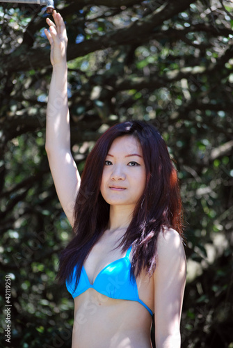 Asian girl in the Mediterranean forest3