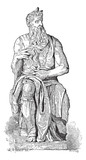 Statue of Moses, vintage engraving poster