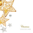 Golden and silver stars, ornaments and holiday decorations