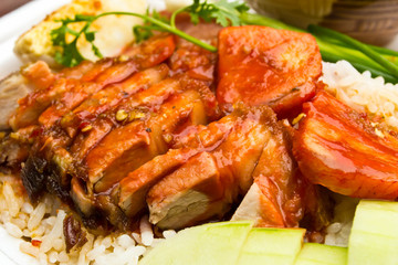 Rice with roasted pork