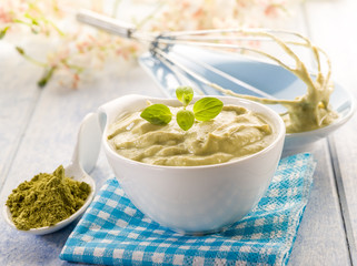 matcha tea and ricotta mousse,healthy dessert