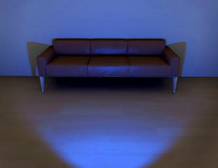 Ilustración de sofá delante de un televisor,viendo televisión.