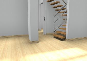 Espacio de un ambiente,cuarto vacío con escaleras.