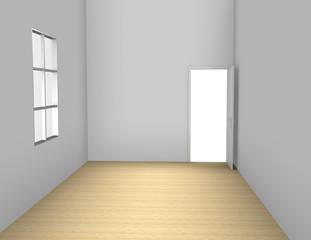 Una habitación vacía,habitación con ventana y puerta.