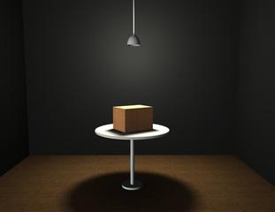 Una caja de cartón cerrada  iluminada en una habitación.