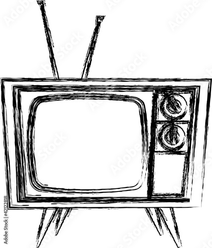 Sketch style retro tv