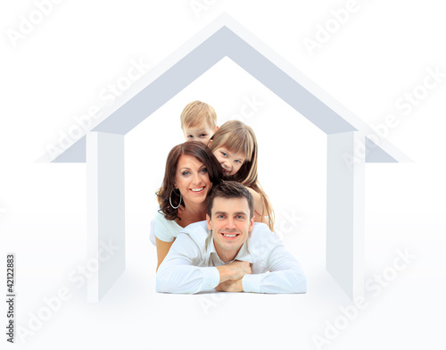 Beautiful family in a house - isolated over a white