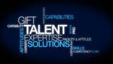 Talent expertise solutions tag cloud animation video poster