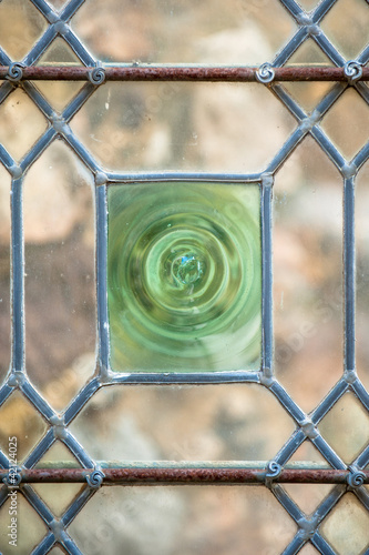 Antique medieval glass door in Le Mans, France
