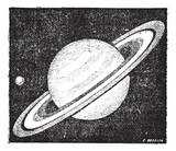 Comparison of the sizes of Saturn and Earth vintage engraving poster