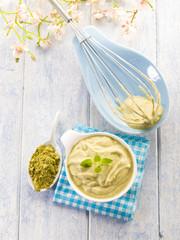 matcha tea and ricotta mousse,healthy dessert
