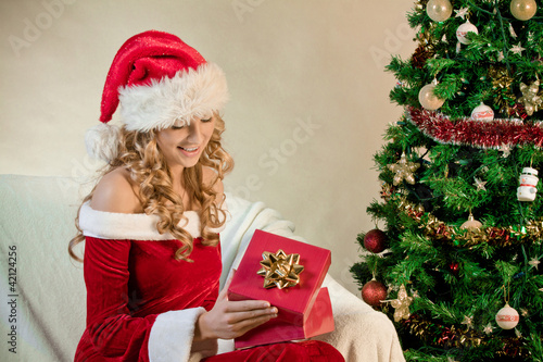 Young woman in santa hat