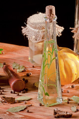 Oil bottle in front of ingredients