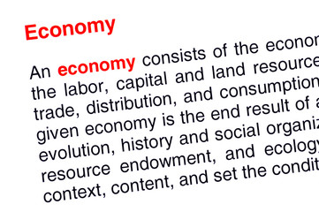 Economy text highlighted in red