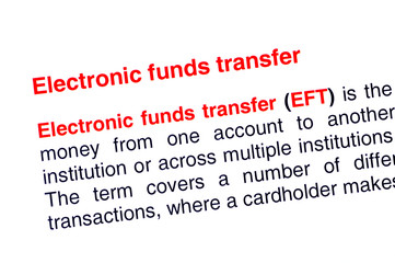 Electronic funds transfer text highlighted in red