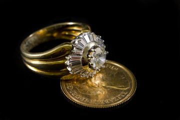 Rings with diamonds on sterling gold