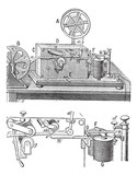 Telegraph, Morse apparatus, vintage engraving. poster