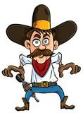 Cartoon cowboy ready to draw. Isolated