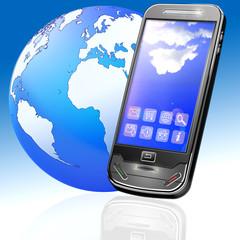 Handy mit Apps und Globus