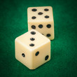 Dice on a green gaming table