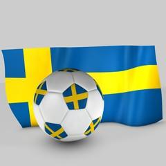 balón y bandera suecia
