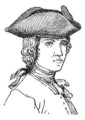 Tricorne or Tricorn, vintage engraving.