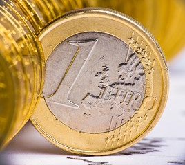 Extremely close up view of European currency