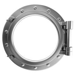 Illustration of a chrome ship porthole