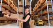 Female courier at warehouse b