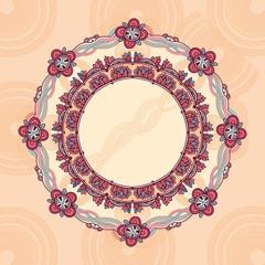 нежный цветочный узор, круглое пространство для текста