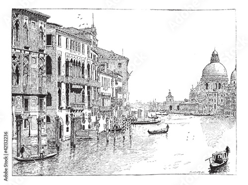 View of the Grand Canal, Venice, vintage engraving. © Morphart