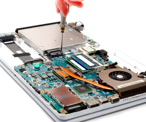 man repair laptop