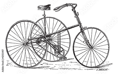 Velocipede, tricycle, vintage engraving. © Morphart