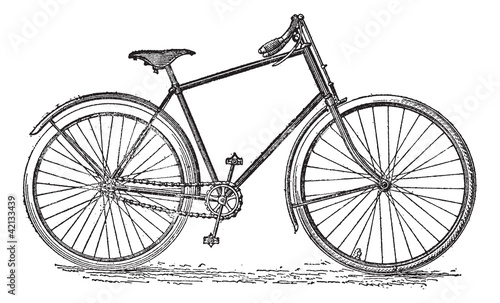 Velocipede bicycle, vintage engraving. © Morphart