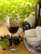 Red wine, Brie, Camembert and grape, outdoor