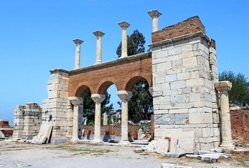The ruins of basilica of St. John in Selcuk, Turkey