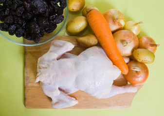 Raw chicken and other ingredients