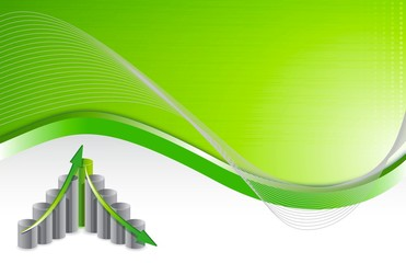 green wave chart business background illustration design