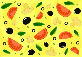Pizza background. Vector.