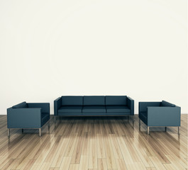 minimal modern interior couch and armchair