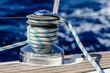 Leinwanddruck Bild - Sailing boat winch with rope closeup