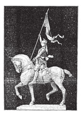"Joan of Arc, nicknamed ""The Maid of Orleans"", vintage engraving."