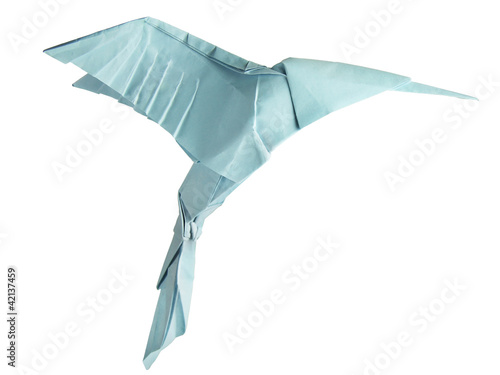 origami isolated hummingbird