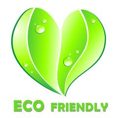 Eco friendly concept. Leaf heart shape.