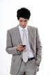 businessman reading sms