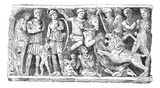 Bas-relief of a sarcophagus Jovin reims, vintage engraving.