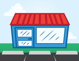 Business storefront with parking lot