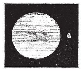 Jupiter and Earth, dimensions compared, vintage engraving.