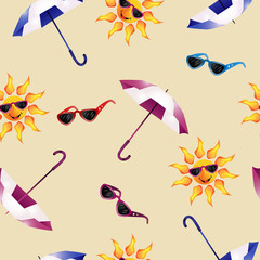 Pattern with umbrella , sunglasses and sun
