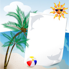 summer and sea background with palm tree